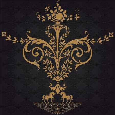 vine art: Elegant gold frame banner with crown, floral elements on the ornate background   Illustration
