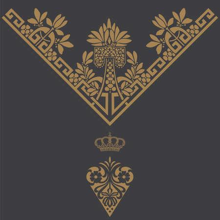 vine art: Elegant gold frame banner with crown, floral elements on the ornate background  Vector illustration