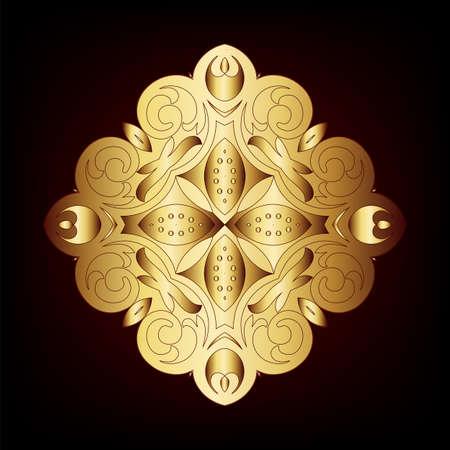 Elegant gold frame banner, floral elements on the ornate background  Vector illustration   Vector