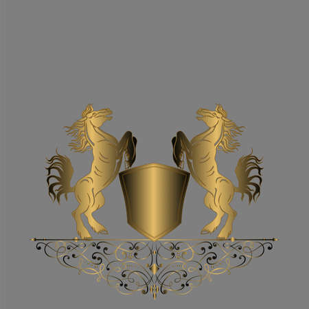 Elegant gold frame banner, floral elements on the ornate background Vector