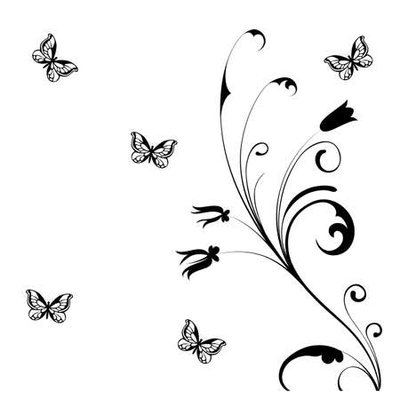butterfly tattoo:  illustration -   black butterfly on a  white background