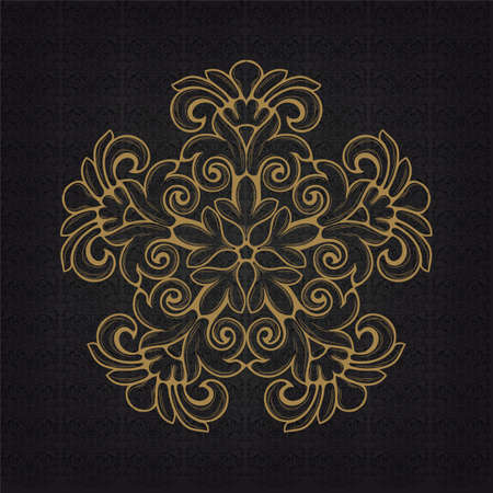 Elegant gold frame banner, floral elements on the ornate background   Vector