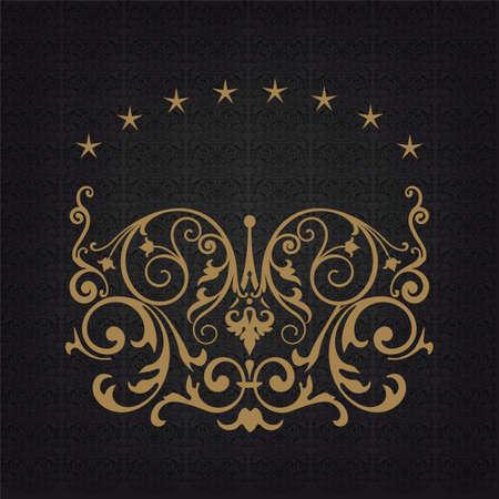 royal rich style: Elegant gold frame banner, floral elements on the ornate background