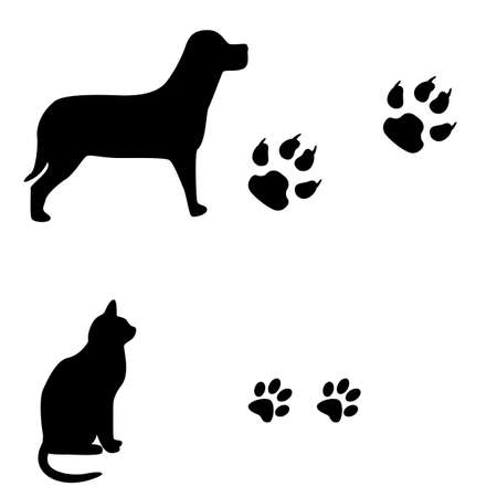 dog track:  Cat and dog black and white illustration with their footsteps  Illustration