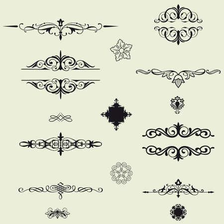 виньетка: Границы и элементов для дизайна Иллюстрация