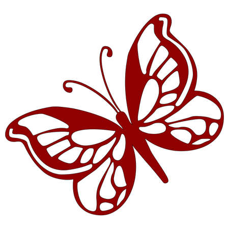 stencils: illustration - red butterfly on a white background