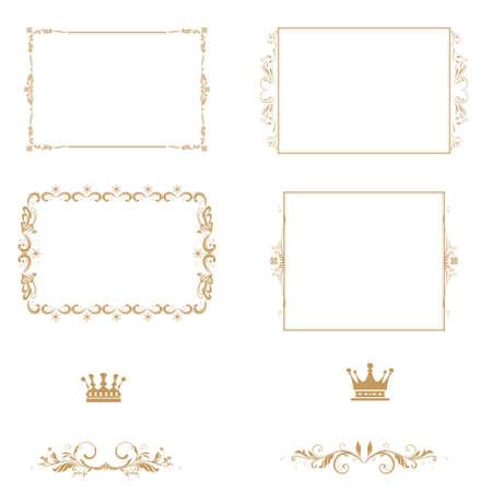set of decorative horizontal elements, border and frame  Basic elements are grouped