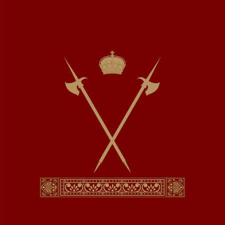 Vintage emblem  Emblem antique, coat of arms  lions hold the shield, crown, banner  Vector