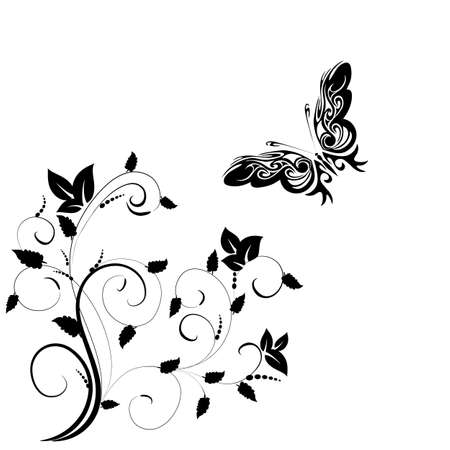 Background with butterfly on a white background  Stock Vector - 18707756