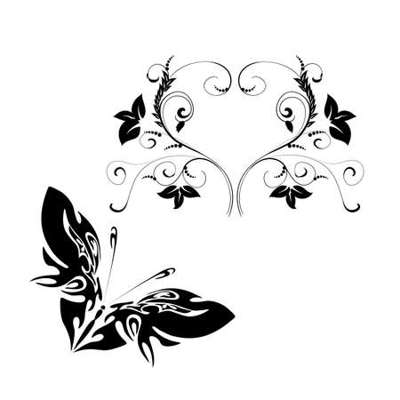Background with butterfly on a white background  Stock Vector - 18707755