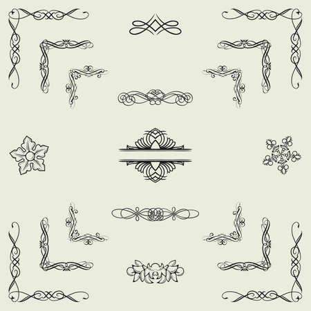 Vector set of black decorative horizontal floral elements, corners, borders, frame  Vector