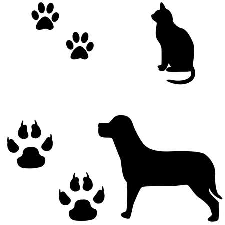Cat and dog black and white illustration with their footsteps  Vector