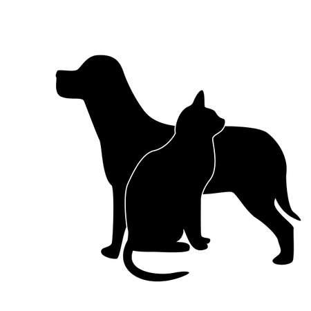 silhouette gatto: cane e di gatto silhouette