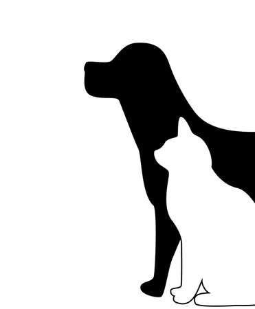 canines:  dog and cat silhouette