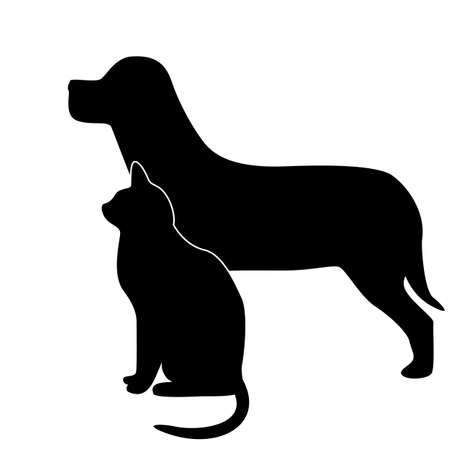 dog and cat silhouette  Stock Vector - 18853746