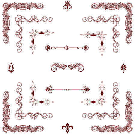 set of gold decorative horizontal floral elements, corners, borders, frame  Page decoration   Vector