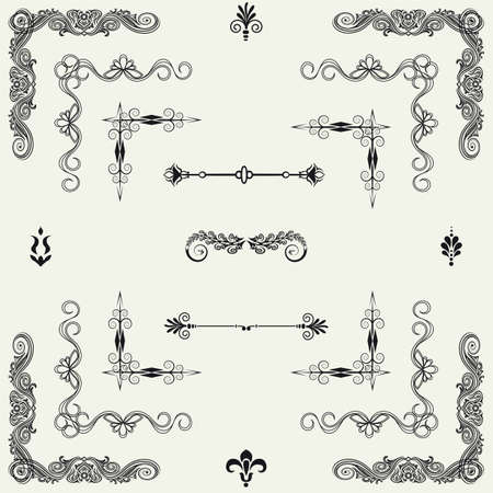 Vector set of gold decorative horizontal floral elements, corners, borders, frame  Page decoration   Vector