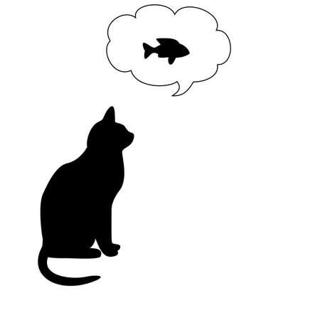 silueta gato: gato y pescados Vectores