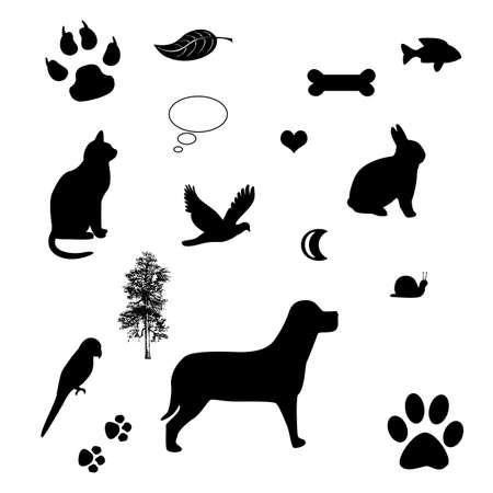 patas de perros: marco con los iconos de perros y gatos - concepto de amor para mascotas