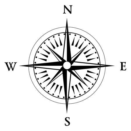 rose wind: Negro br�jula aislado en whte Vectores