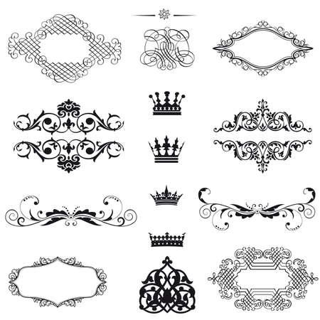 calligraphique: d�finir des �l�ments de conception et d�coration calligraphiques page - beaucoup d'�l�ments utiles pour embellir votre mise en page