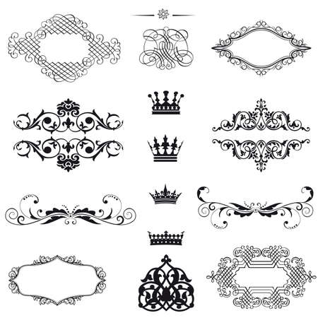 set  calligraphic design elements and page decoration - lots of useful elements to embellish your layout  Stock Vector - 18934029