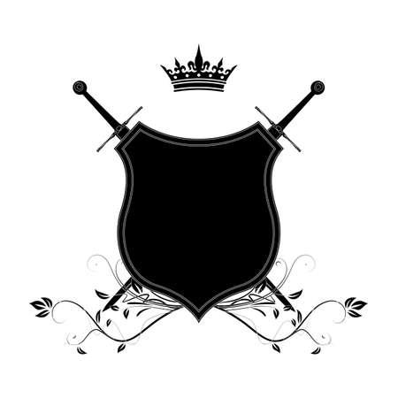 Elegant black frame banner with crown, floral elements on the ornate background    Vector