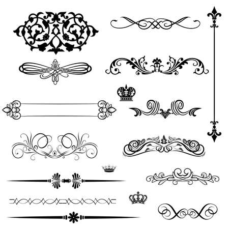 page decoration: set calligraphic element and page decoration  Illustration