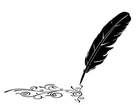 plume: Black-and-white feather and flourish