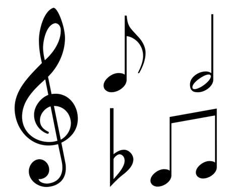 treble clef: Various musical notes