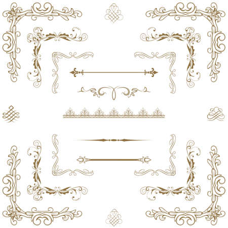 wealth abstract: Set of gold decorative horizontal floral elements, corners, borders, frame, crown  Page decoration