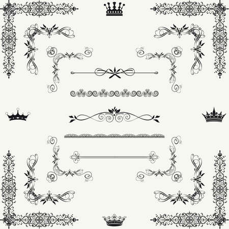 page decoration: Set of gold decorative horizontal floral elements, corners, borders, frame, crown  Page decoration