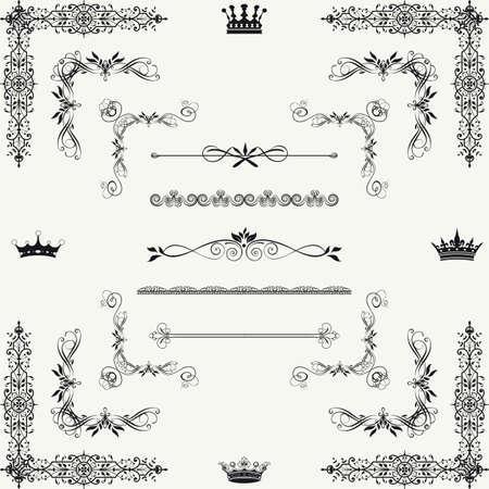 hoekversiering: Set van goud decoratieve horizontale florale elementen, hoeken, randen, kader, kroon Pagina decoratie Stock Illustratie