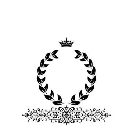 royal rich style: Elegant black frame banner with crown, floral elements on the ornate background illustration