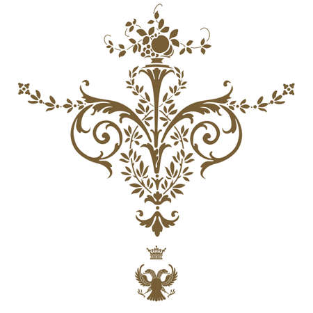 Elegant gold frame banner with crown, floral elements on the ornate background illustration