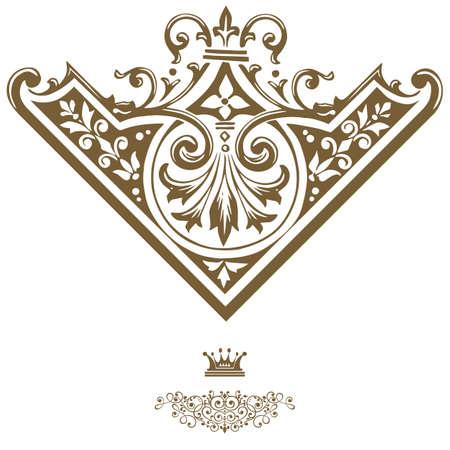 calligraphic design: Elegant gold frame banner with crown, floral elements on the ornate background illustration