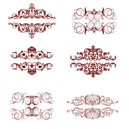 page decoration: Stel kalligrafische elementen en pagina decoratie Stock Illustratie