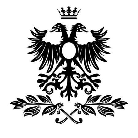 Elegant black frame banner with crown, floral elements on the ornate background   illustration   Vector