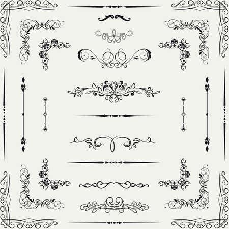 barocco: Vector set di oro decorativi floreali elementi orizzontali, angoli, bordi, cornice, decorazione Pagina corona