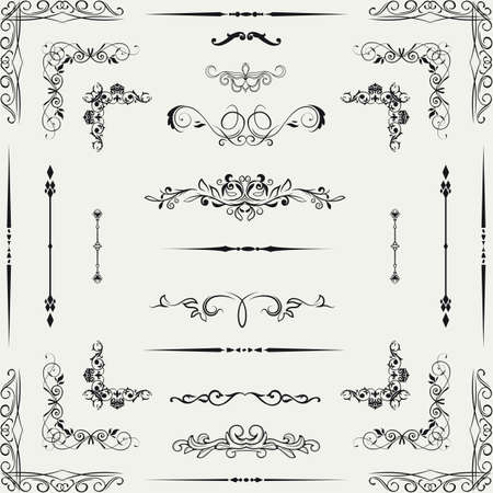 page decoration: Vector set of gold decorative horizontal floral elements, corners, borders, frame, crown  Page decoration