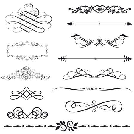 christmas scroll: set calligraphic element and page decoration Illustration