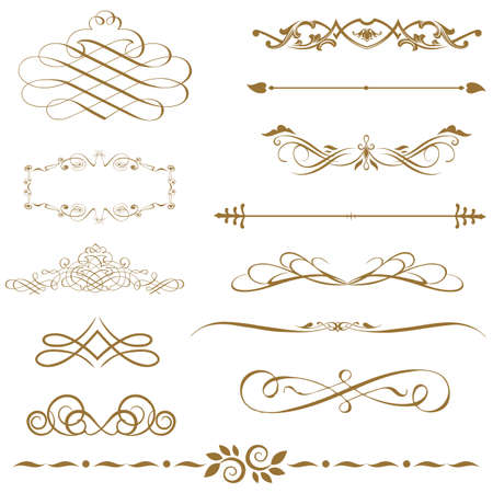 set calligraphic element and page decoration Illustration
