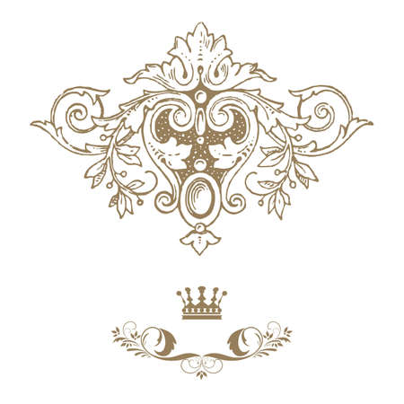baroque background: Elegant gold frame banner with crown, floral elements on the ornate background  illustration