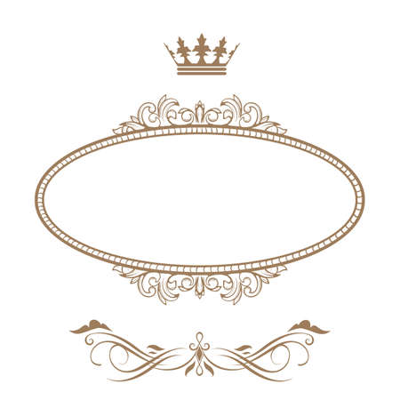 crown silhouette: Elegante cornice reale con corona isolato su sfondo bianco Vettoriali