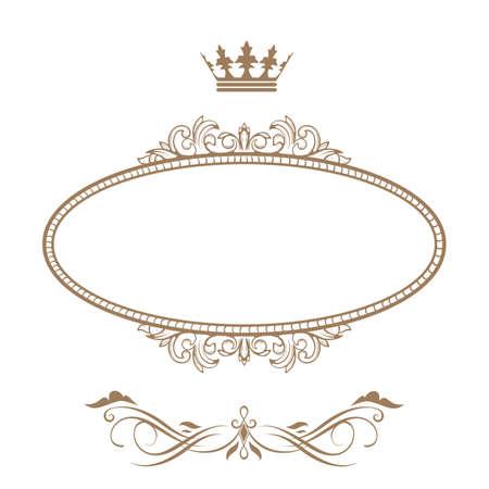 koninklijke kroon: Elegante koninklijke frame met kroon op een witte achtergrond