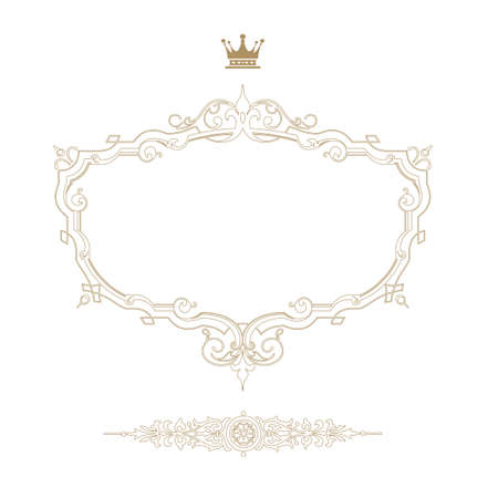 flourish: Elegant royal frame with crown isolated on white background