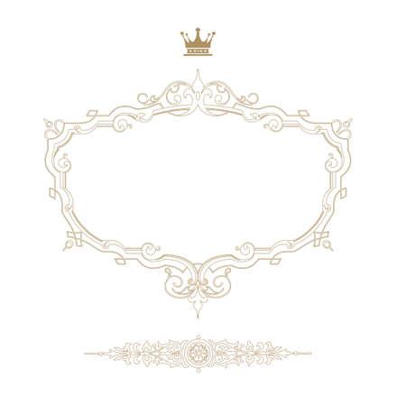 nobile: Elegante cornice reale con corona isolato su sfondo bianco Vettoriali