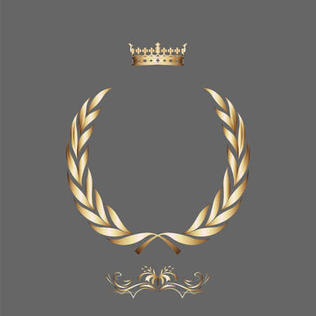 royal rich style: Elegant gold frame banner with crown, floral elements on the ornate background  Vector illustration