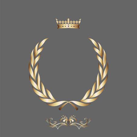 corona real: Elegante marco oro pancarta con la corona, elementos florales en la ilustraci?e fondo vector adornado