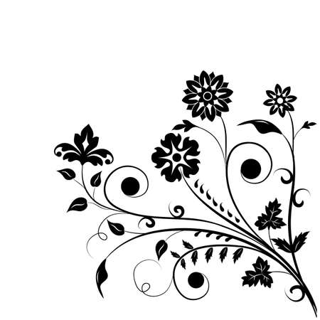 black flower on a white  background  Vector